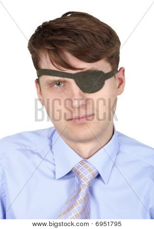 Serious One-eyed Man Isolated On White