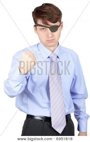 Menacing One-eyed Man Isolated On White
