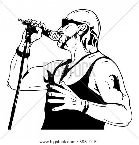 vector - Rock man with a microphone - isolated on background