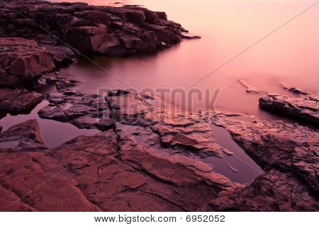 Dawn On The Wet Rocks By Split Rock Lighthouse