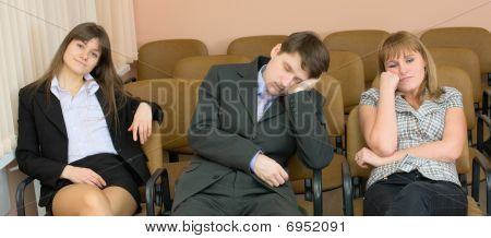 Businessman Has Fallen Asleep Sitting At Conference
