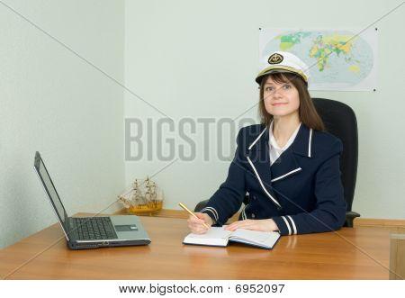 Girl In Uniform Sailor In Office