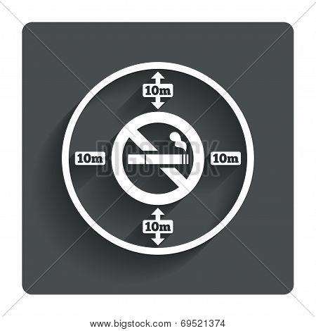 No smoking 10m distance sign icon. Stop smoking