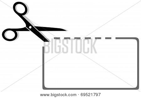 scissors, coupon and dotted line silhouette