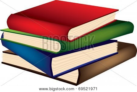 pile of books isolated on a white background