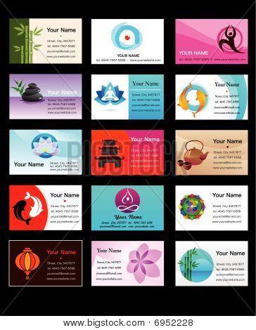 Coleção de Yoga e cartões de visita de Zen