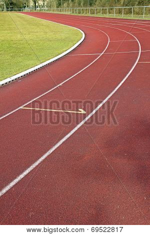 Track And Field Cinder Path With Curve