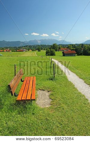 Rural Walkway And Bench, Pictorial Bavarian Landscape