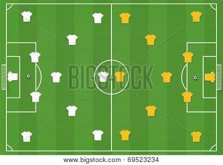 Soccer Field With Players, Mock From Top