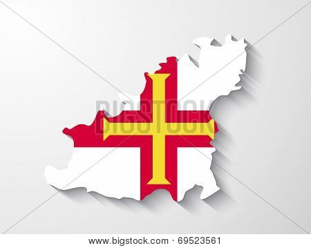 Guernsey  Country Map With Shadow Effect Presentation