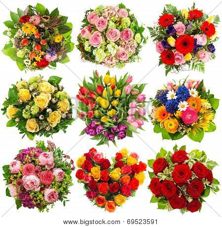 Nine Colorful Flowers Bouquet On White
