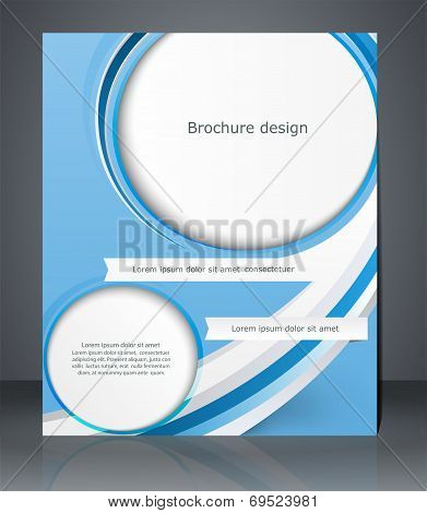 Business Brochure Blue Design, Magazine Cover, Flyer, Or Poster