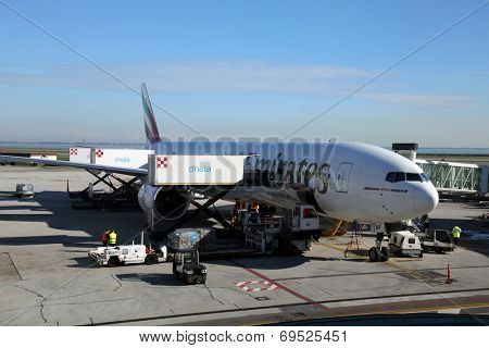 VENICE, ITALY - FEBRUARY 06: Emirates Boeing 777 at Venice Airport on February 06, 2014 in Venice, Italy. Emirates is one of the biggest airline in the world with roughly 2400 flights per week.