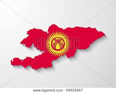 Kyrgyzstan Country Map With Shadow Effect Presentation