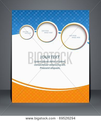 Flyer Design, Template, Or A Magazine Cover In Blue And Orange Colors.  Vector