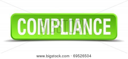 Compliance Green 3D Realistic Square Isolated Button