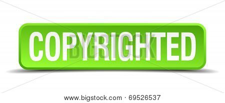 Copyrighted Green 3D Realistic Square Isolated Button