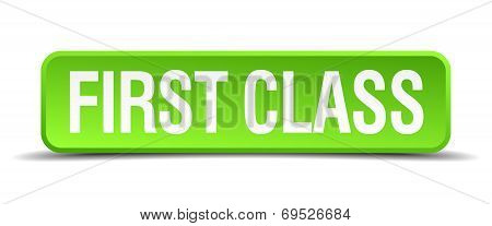 First Class Green 3D Realistic Square Isolated Button