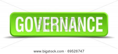 Governance Green 3D Realistic Square Isolated Button