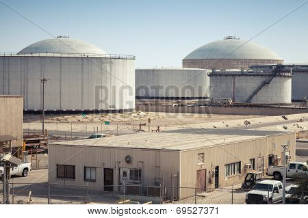 Group Of Big Fuel Tanks. Ras Tanura Oil Terminal, Saudi Arabia