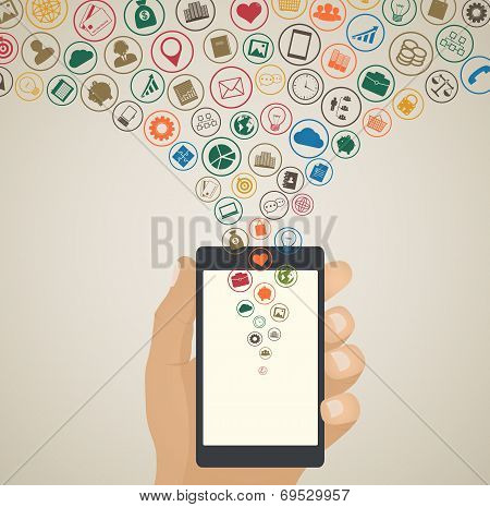 Mobile App Development Concept, Cloud Media Icons Around Tablet  Pc Or Smartphone In Hand With Icons