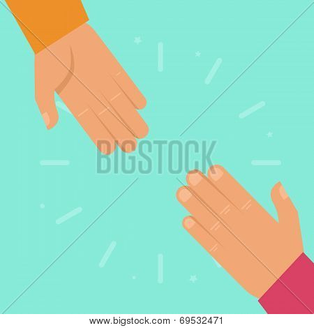Vector Helping Hands In Flat Style