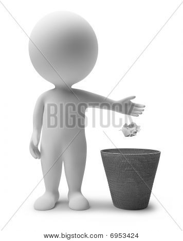 3D Small People - Garbage Basket