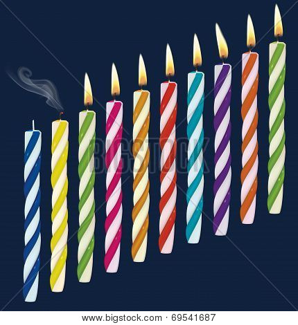 Set Of Birthday Multicolored Candles. New, Extinct, Burning Candles. Vector Illustration
