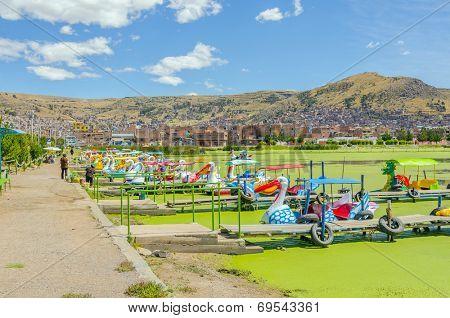Lake Titicaca, Peru - hire of pedalos in Puno port