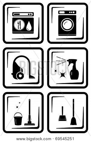 Set Six Icon For Housewife Home Work