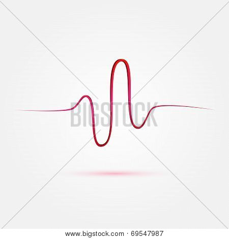 Vector Heart Beat, Cardiogram, Medical Icon