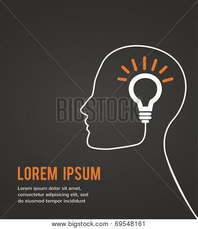 human head thinking a new idea on black background
