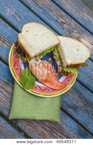 A delicious lobster sandwich with a piece of lobster claw meat.