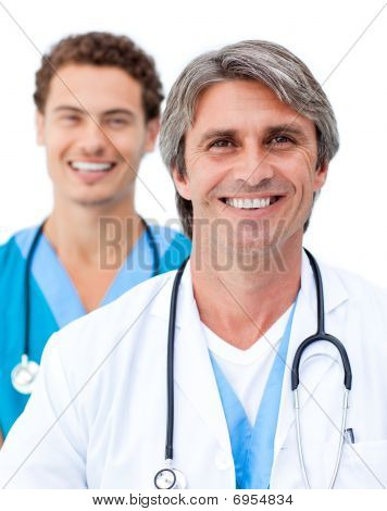 Cheerful Male Doctors Smiling