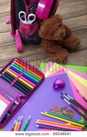 Many school stationery school bags teddy bears a heap