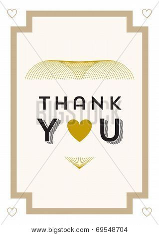 Thank you Card Gold Heart Theme