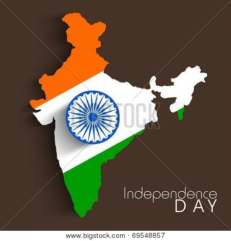 Republic of India map in national tricolors with Asoka Wheel on brown background for Indian Independence Day celebrations.