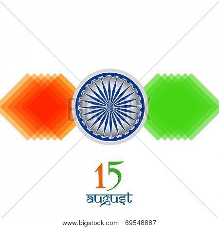 15th of August, Indian Independence Day celebrations concept with stylish asoka wheel and saffron and green arrows on white background.