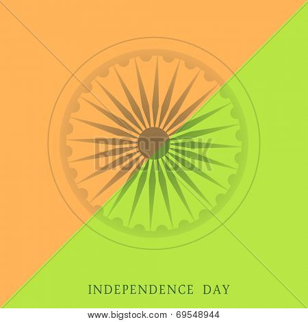 Stylish poster, banner or flyer with Asoka Wheel on saffron and green background for 15th of August, Indian Independence Day celebrations.
