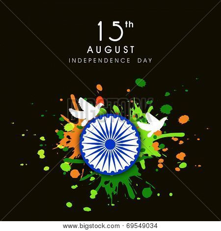 Beautiful 15th of August, Indian Independence Day celebrations with Asoka Wheel, flying pigeons on national tricolors grungy background.