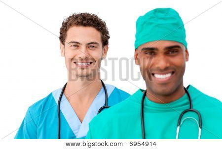 A Diverse Medical Team Standing In A Row