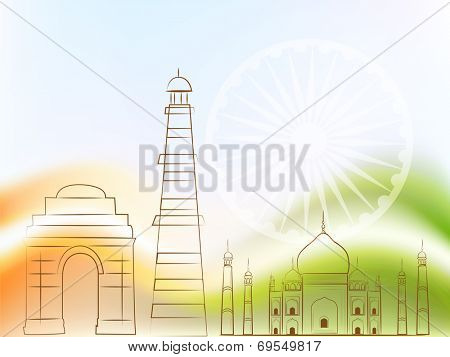 Indian famous monuments India Gate, Qutub Minar and Taj Mahal on asoka wheel decorated national flag colors background.