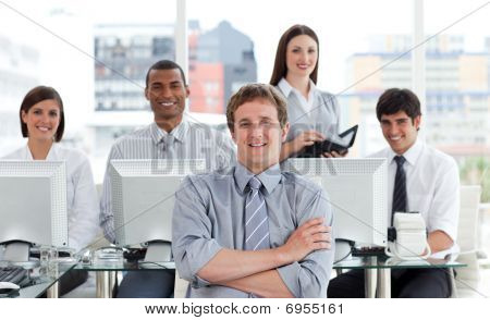 Portrait Of A Positive Business Team At Work