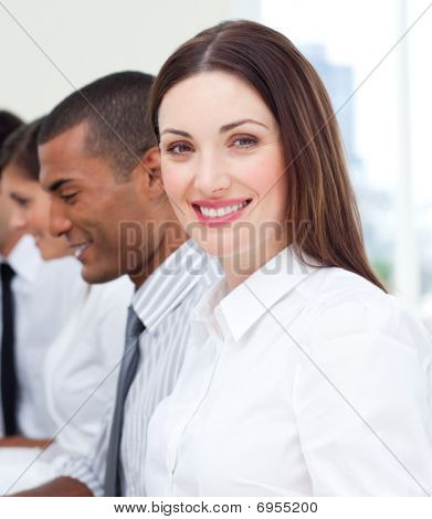 Close-up Of Businesswoman And Her Team
