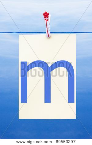 Seamless Washing Line With Paper Showing The Letter M