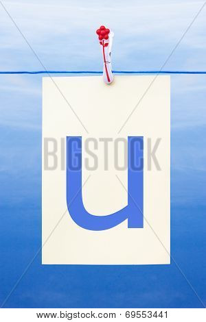 Seamless Washing Line With Paper Showing The Letter U