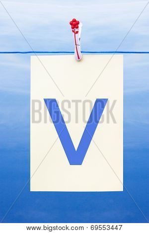Seamless Washing Line With Paper Showing The Letter V