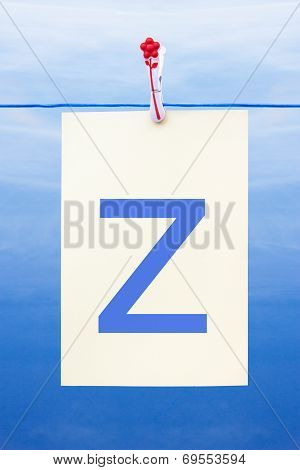 Seamless Washing Line With Paper Showing The Letter Z
