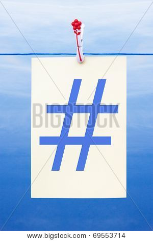 Seamless Washing Line With Paper Showing Hashtag