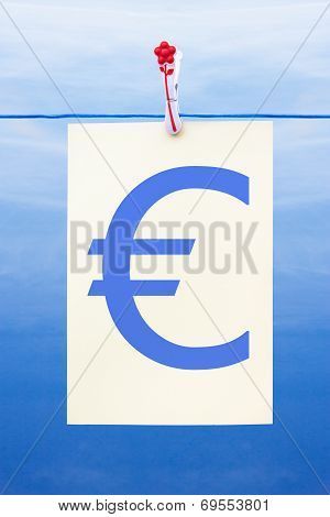 Seamless Washing Line With Paper Showing Euro Sign